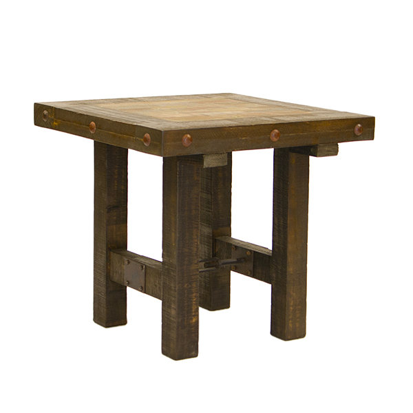 Las Piedras End Table with Painted Wood