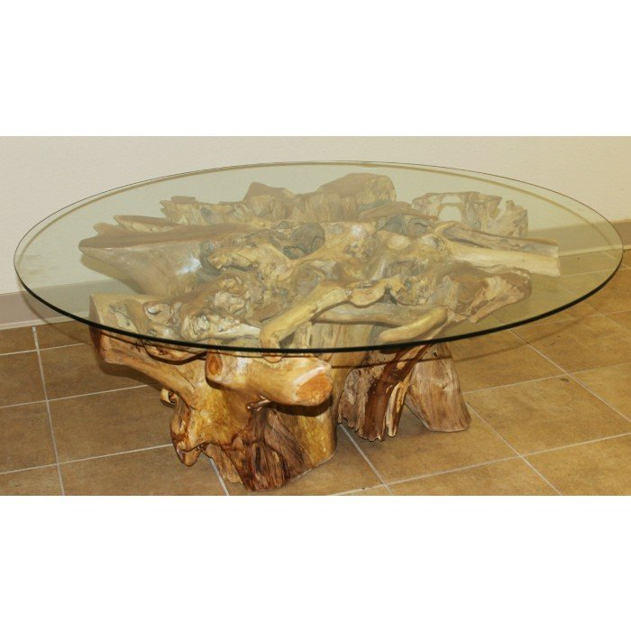 """Teak 41.5"""" Round Coffee Table with Glass Top T-792016"""
