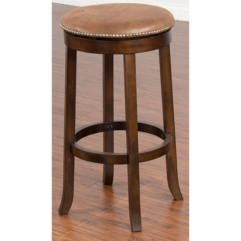 "Dark Chocolate Swivel Backless 30"" Barstool T-835043"
