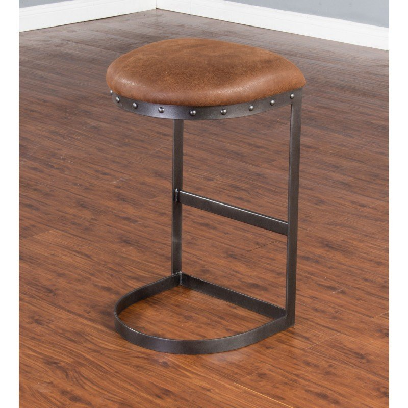 "30"" Tahoe Black Metal Barstool with Brown Seat T-835046"