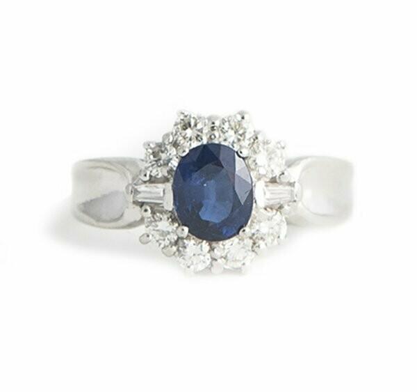 Ring Platinum Diamond And Vintage Sapphire ybgv6fY7