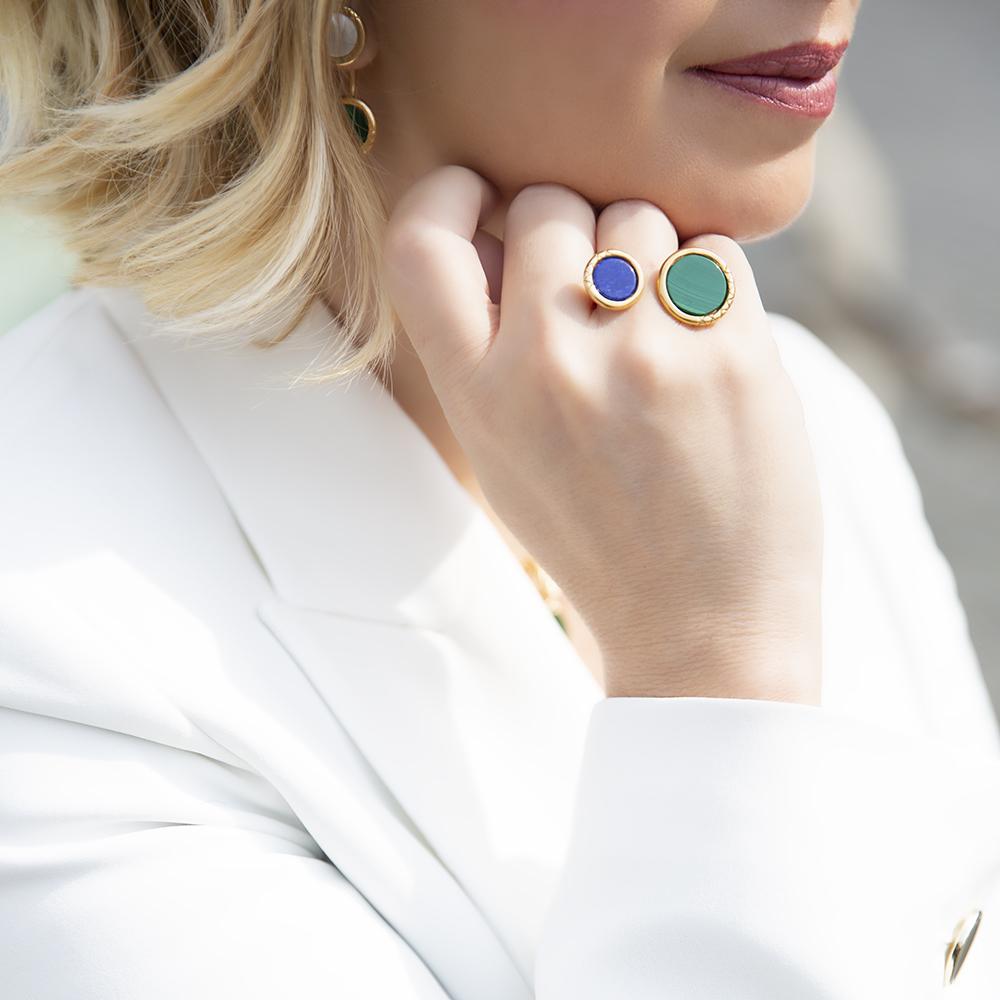 Anello Ouroboro Double Stone Green - Giulia Barela Jewelry 00102