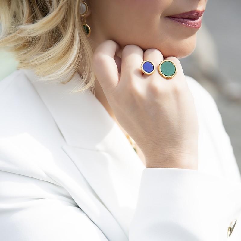 Anello Ouroboro Double Stone Green - Giulia Barela Jewelry