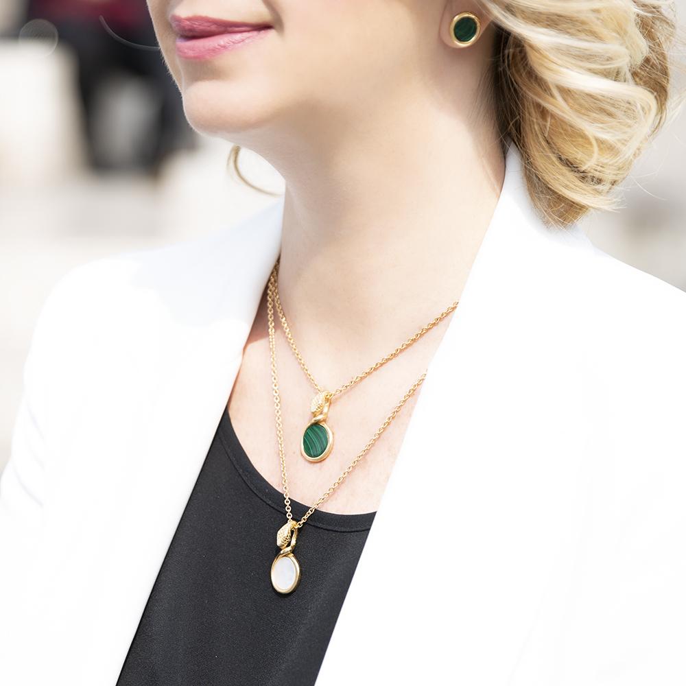 Collana Pendenti Ouroboro Double Stone - Giulia Barela Jewelry 00106