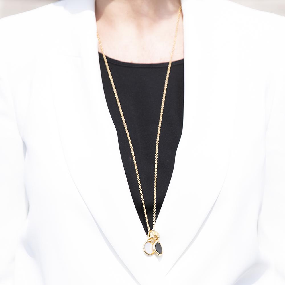 Collana Pendenti Ouroboro Double Stone - Giulia Barela Jewelry