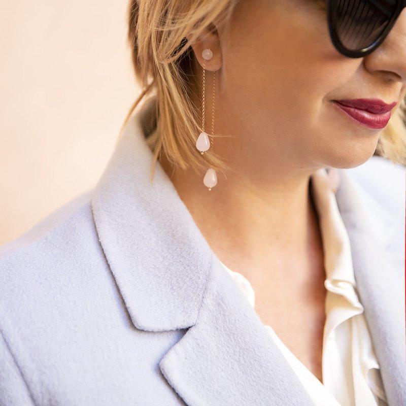 Orecchini Doppi Rosa di 20 Celesti Bijoux