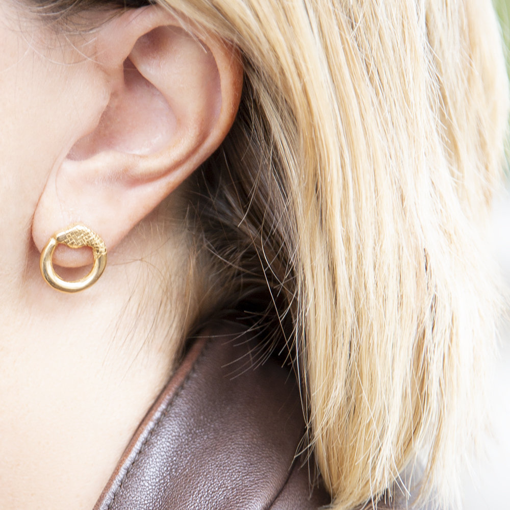 Orecchino Singolo Ouroboro Small - Giulia Barela Jewelry 00038