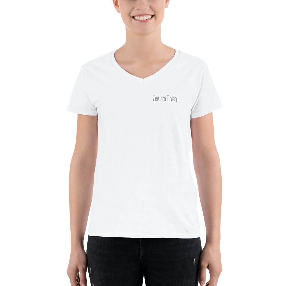 Women's Casual V-Neck Shirt with Jestem Polką Logo