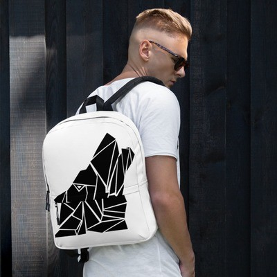 Backpack with a Wolf Logo (Black and White)