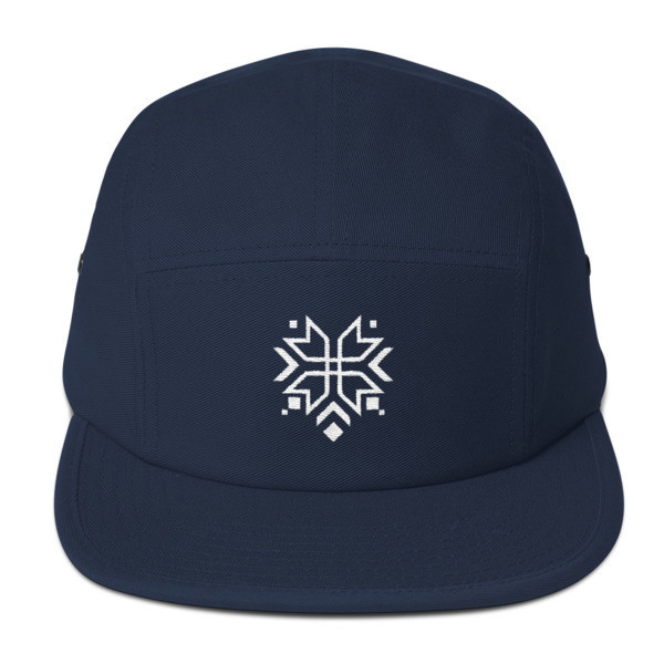 Five Panel Cap with a Folk Motif (Pure White Logo)