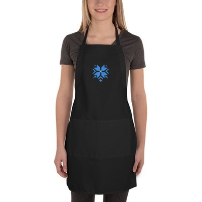 Embroidered Apron with a Morning Star Motif (Blue and Yellow)