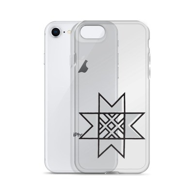 iPhone Case with a Stylized Morning Star Motif (Grey and Black)
