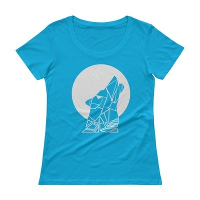 Ladies' Scoopneck T-Shirt with Wolf Motif