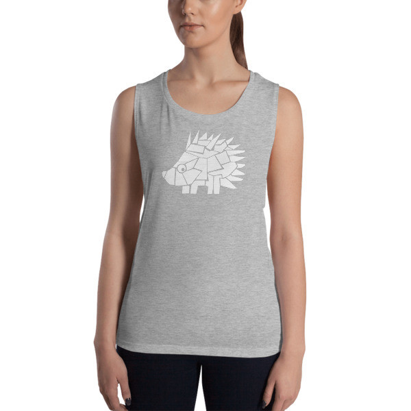 Ladies' Muscle Tank with a Hedgehog Logo