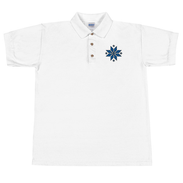 Embroidered Polo Shirt with a Morning Star Motif (Estonian colours)