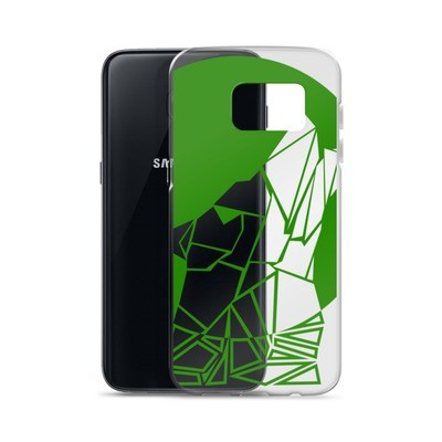 Samsung Case with a Wolf Logo (Green and Large)