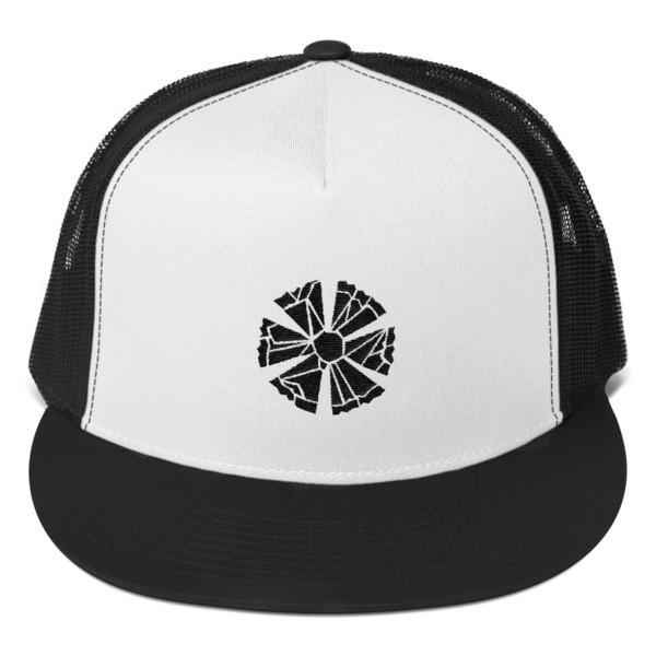 Trucker Cap with Estonian Cornflower Logo (Black and White)