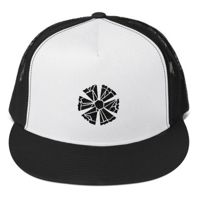 Trucker Cap with Estonian Cornflower Logo (Black and White)