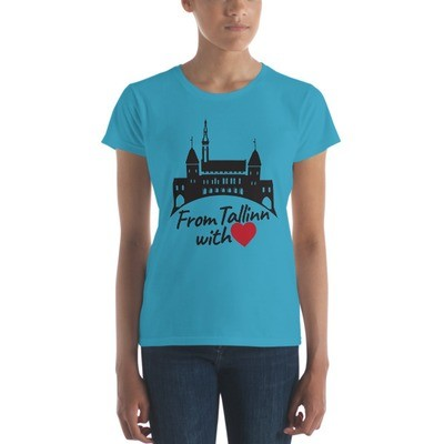 Women's short sleeve t-shirt with From Tallinn with Love Motif (Black and Red Heart)