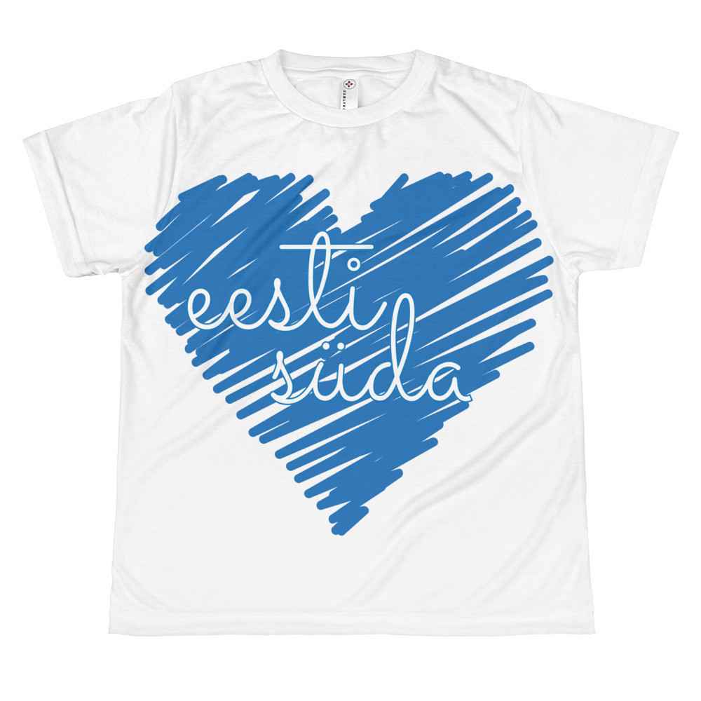 All-over youth sublimation T-shirt with Estonian Heart (eesti süda) Print