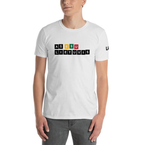 Male Short-Sleeve T-Shirt with I am Lithuanian (Aš esu lietuvis) Logo