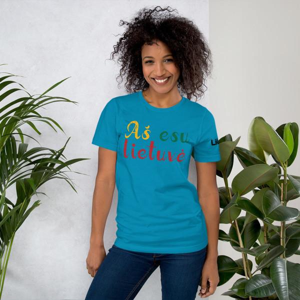Female Short-Sleeve Unisex T-Shirt with I am Lithuanian (Aš esu lietuvė) Handwritten Logo