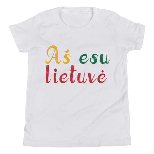Youth Short Sleeve T-Shirt with I am Lithuanian (Aš esu lietuvė) Handwritten Logo