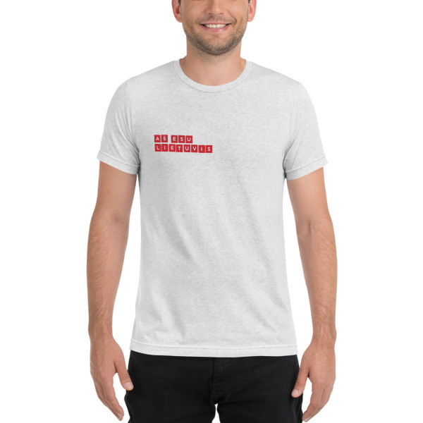 Male Short sleeve t-shirt with I am Lithuanian (Aš esu lietuvis) Red Mini Logo