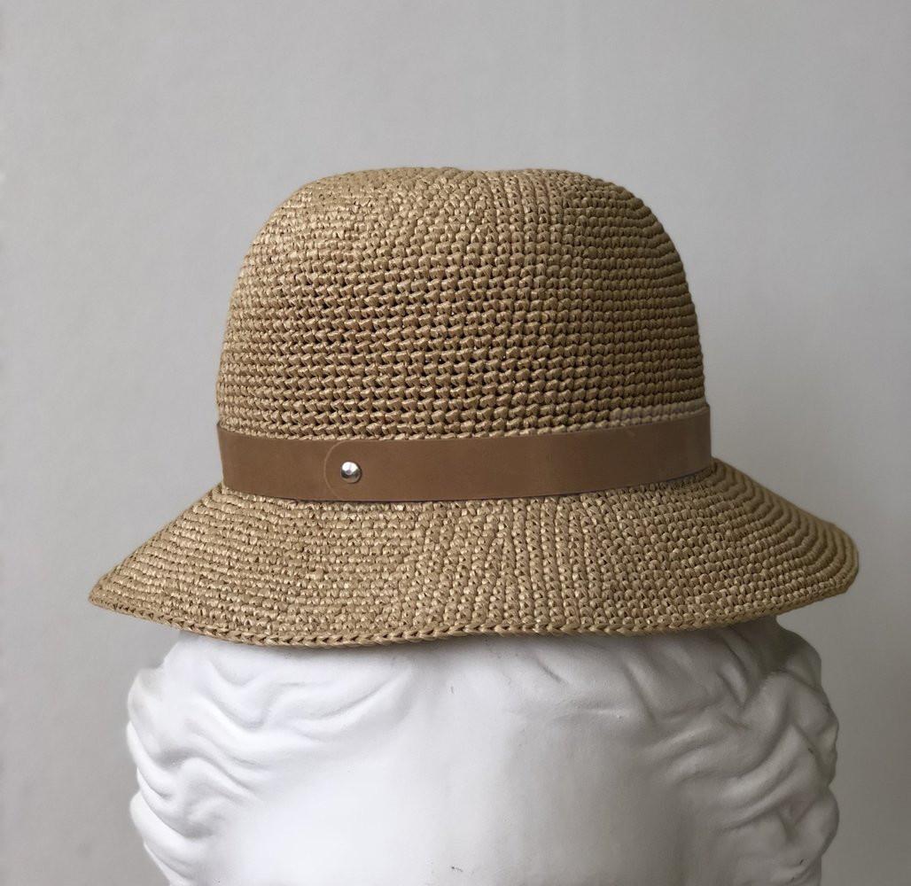 шляпная лента из кожи кэмел (05)