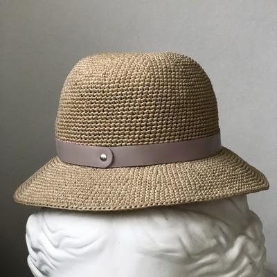 шляпная лента из кожи серо-розовый (02)