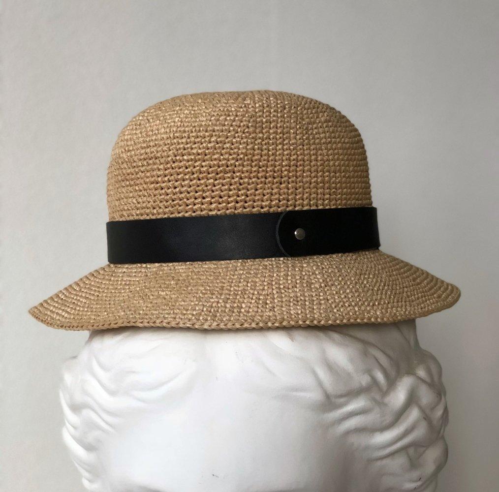 шляпная лента из кожи черная широкая (07)