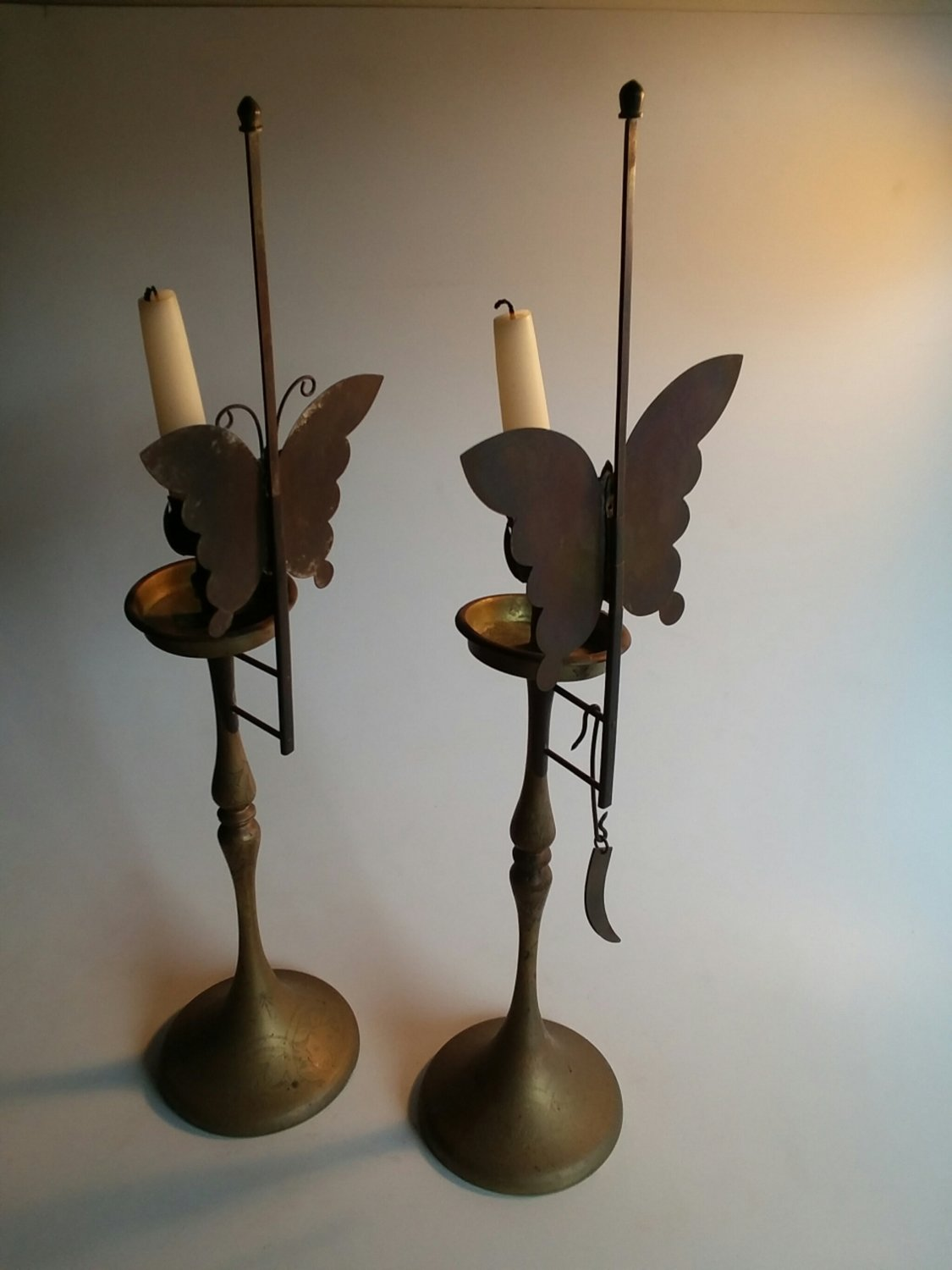 Brass Butterfly Candlesticks