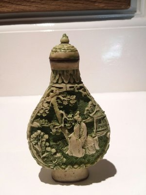 Snuff bottle white Cinnebar with green glaze Chinese