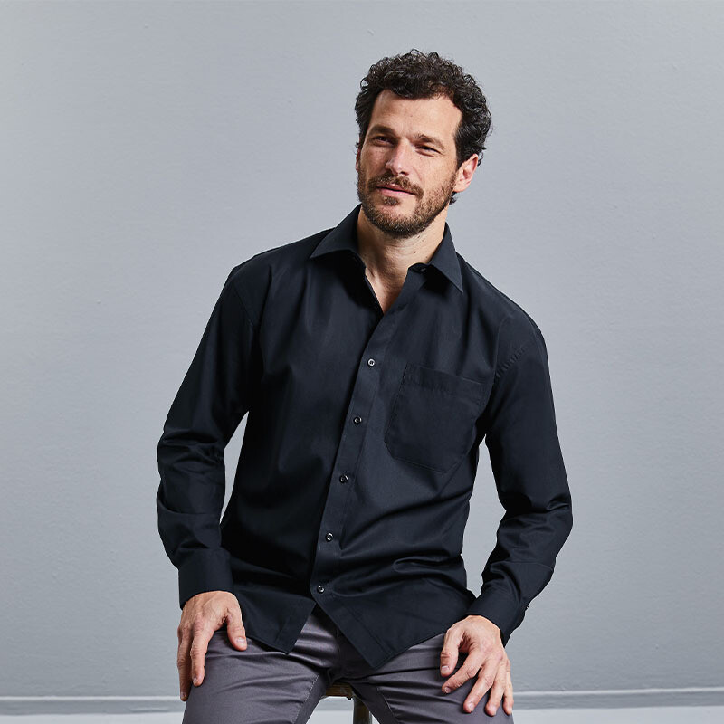 J936M Russell Collection Long sleeve pure cotton easycare poplin shirt