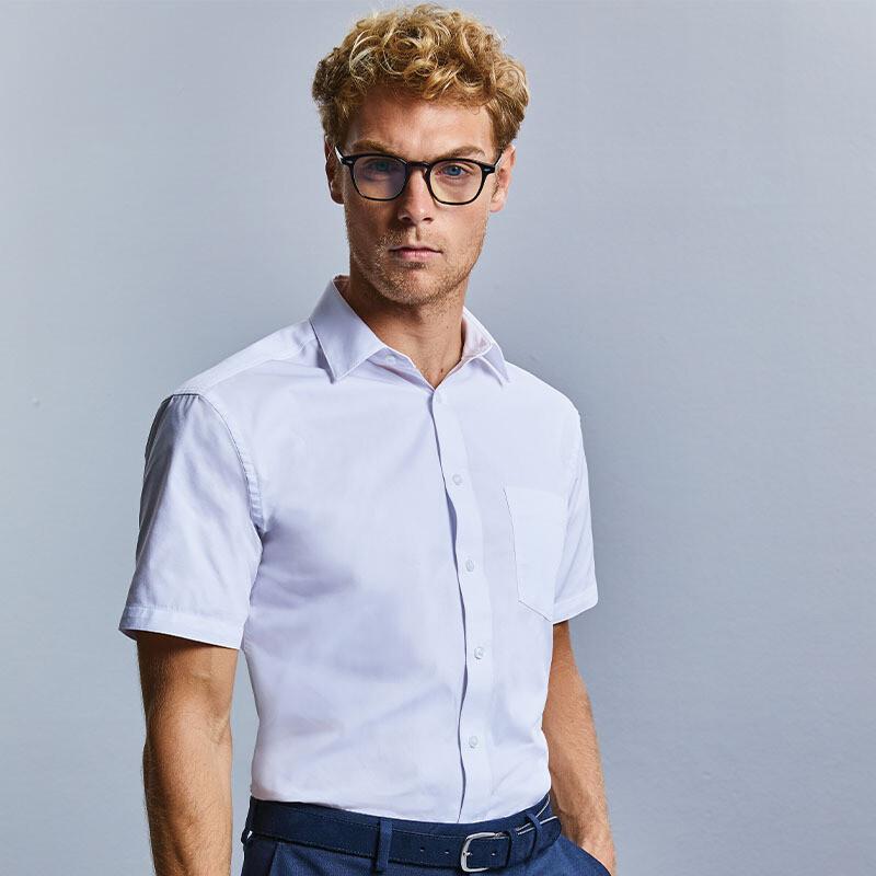 J973M Russell Collection Short sleeve tailored Coolmaxhalf shirt