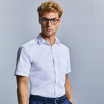 J973M Russell Collection Short sleeve tailored Coolmaxhalf shirt