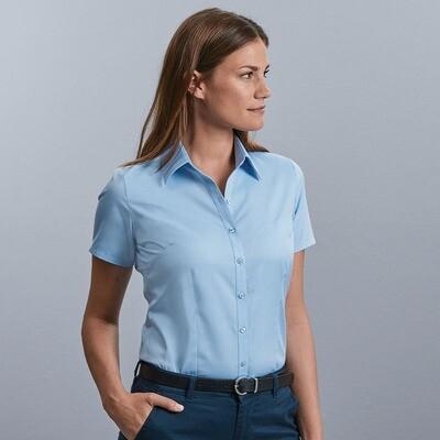 J963F Russell Collection Women's short sleeve herringbone shirt