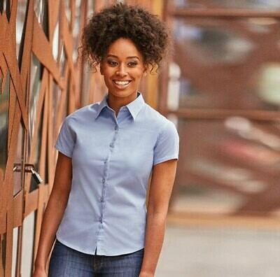 J917F Russell Women's short sleeve classic twill shirt