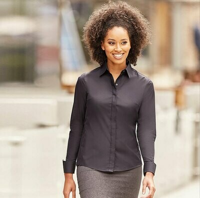 J960F Russell Collection Women's long sleeve ultimate stretch shirt