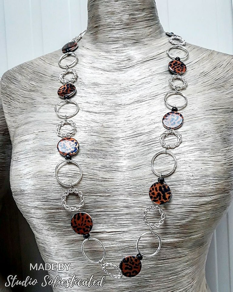 necklace  with rings sterling silver & shell beads animalprint 00179