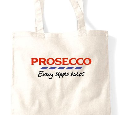 Prosecco sparkling wine tote bag - Glitter or Flock Shopping Bag, Gift Bag