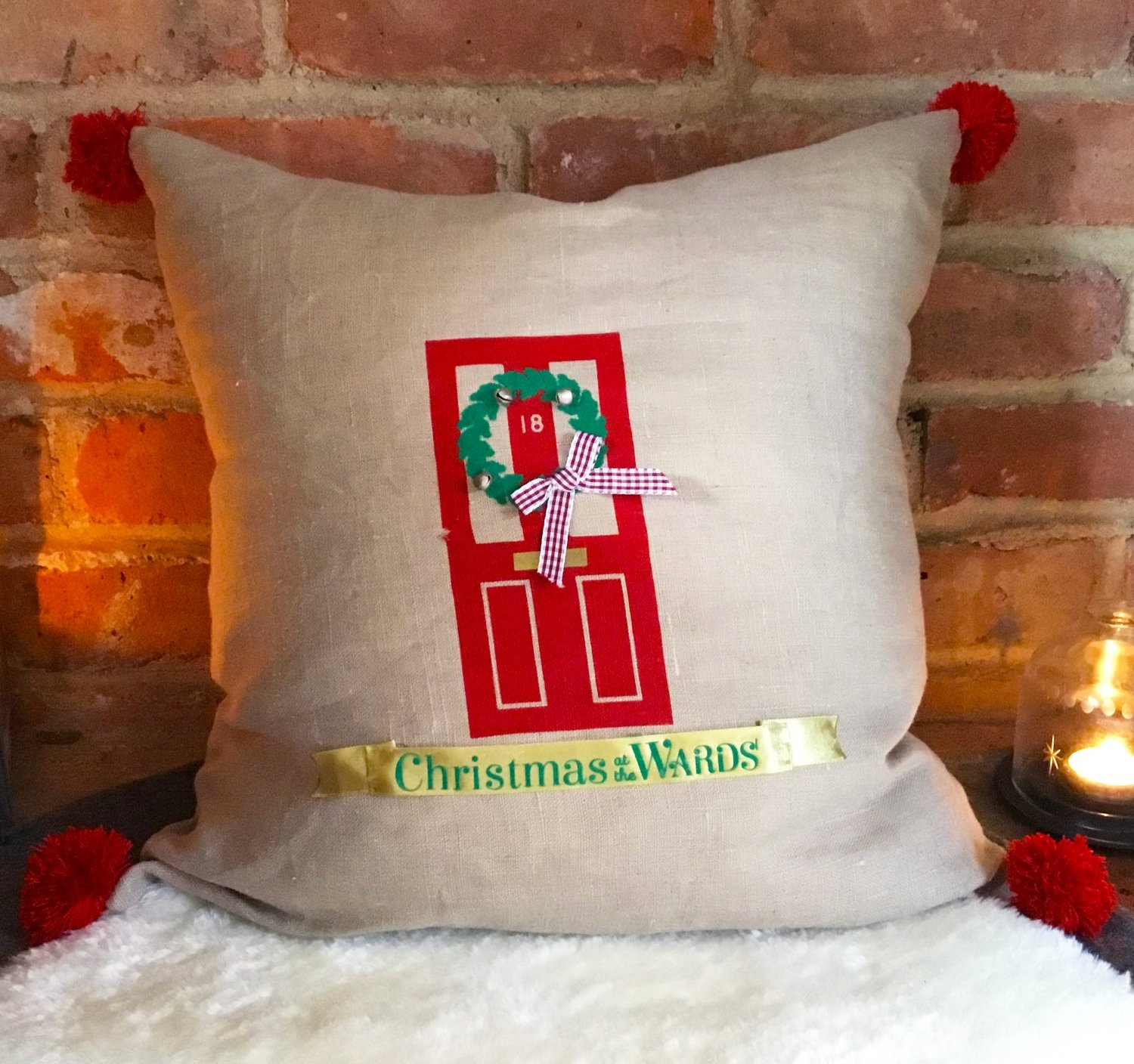 Christmas Personalised Family Front Door Cushion