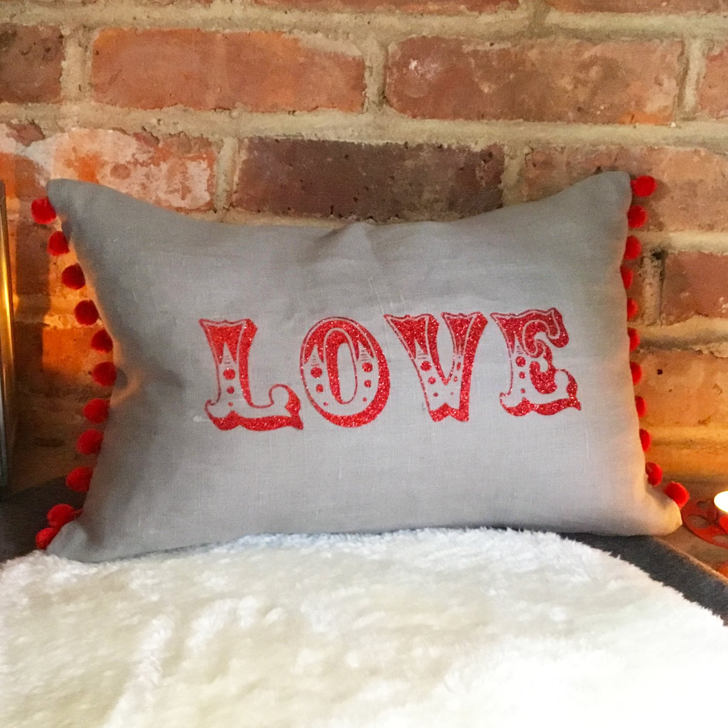 "Carnival ""Love"" or personalised message rectangular Cushion"