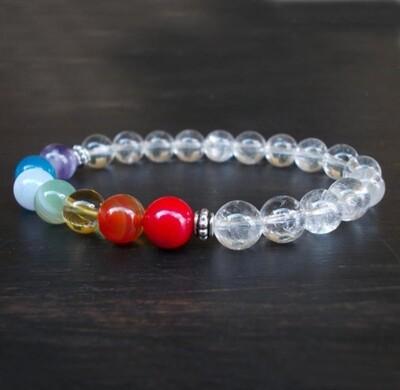 7 Chakra Bracelet Clear Crystal Quartz Wrist Mala Beads Bracelet*