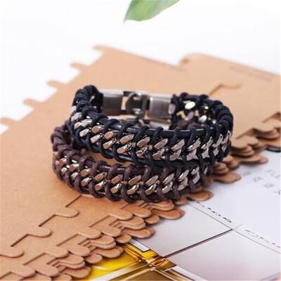 Vintage Stainless Steel Braided Genuine Leather Bracelet