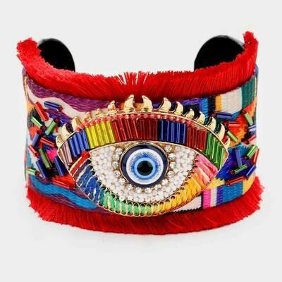 Red Evil Eye Tassel Cuff bracelet