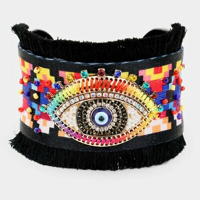 Black Evil Eye Tassel Cuff bracelet