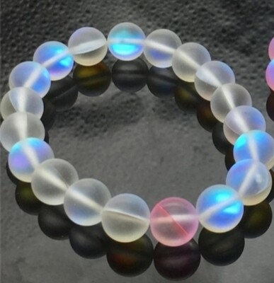 White 10mm Matte mystic aura quartz blue