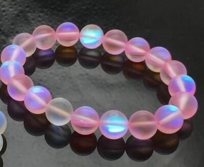 Pink 10mm Matte mystic aura quartz