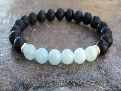 High Quality Volcanic Lava Natural Stone Aquamarine Bracelet*